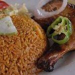 Hot jollof rice with chicken