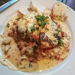 The incredible tasting JJ's Crawfish and Blackened Chicken. The crawfish cream sauce on top of t