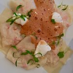 Light pasta stuffed with crab and lobster emulsion on top