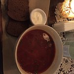 Borsch with brown bread and sour cream to add.