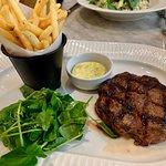 Rib eye steak, perfectly cooked.