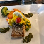 Salmon, mango salsa, pistachio chutney served with veggies and side starch - mine was basil infused mashed potatoes.
