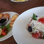Shopska salad, and best cheese with blueberry sauce we tasted so far (4)