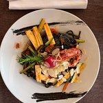 Tagliatelle nero mit Scampis und Gemüse :-) Ausgezeichnet
