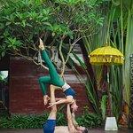 Yoga Couple on Pool Deck