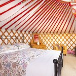 A king size bed inside the Mongolian yurts