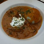 Beef Stroganoff with sour cream and dumpling