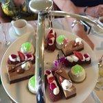 Dessert section of high tea tower