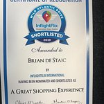 Certificate of Recognition : Brian de Staic - A GREAT SHOPPING EXPERIENCE