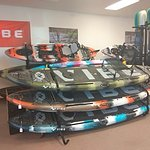 Our kayaks! We have Vibe, Feel Free, 3 Waters, and Liquid Logic. Whether you sit down, stand up, or flip upside down, we've got you covered.