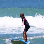 One of several times in which the kids were able to stand on the surf board