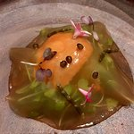 """Round & Spinny"" -Sea Urchine, bacon jelly, sea asparagus"