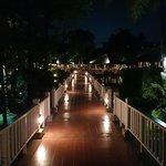 Illuminated walkway across Sala Lake
