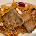 Dorozsmai Paprikash - Catfish fillet, Hungarian handkerchief pasta in paprika sauce with mushroo