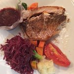 Grilled snapper hibiscus sauce, red cabbage