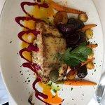 Romaine salad, tomato salad, halibut entree