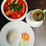 Tom Yam veg with rice