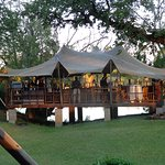 The restaurant with the Zambezi River in the background.