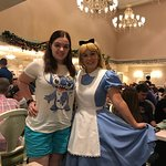 1900 Park Fare restaurant with Katie and Alice in Wonderland.