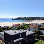 View from the hotel terrace overlooking St Brelades Bay