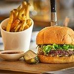 PSK Burger aged cheddar   house pickle   lettuce   sweet onion   dijonnaise   sesame seed bun
