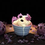 Caramel and blackcurrant ice cream