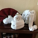Towel art always greeting you when you come back to your rooms after being made up.
