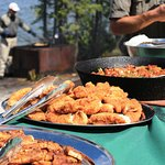 Mouth watering fresh walleye shore lunches.
