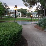 The lake between the lobby and the rooms and where the ferry will take you to Disney springs on a ferry on the lake