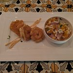 ceviche with fried plantains appetizer