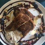 French toast - spiced brioche, espresso mascarpone, mixed berry compote, biscotti crunch, maple
