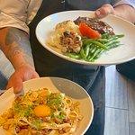 Filet Mignon and pasta Carbonara
