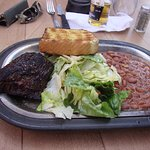 Sirloin steak with pinto beans, fry bread and lettuce salad!