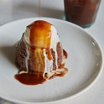 Sticky Toffee Pudding Dates, toffee sponge, toffee sauce, vanilla ice cream, maple syrup