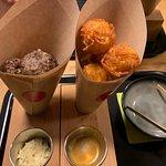 Boulettes de boeufs et Röstiballs, mayonnaise à la moutarde à l'ancienne et sauce curry pour pouvoir tremper ses boulettes :)