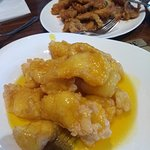 The Fried Fish Fillet w/ Lemon Sauce (front) and the Fried Spicy Pork (back), part of the Peking