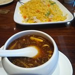 "The supposed ""Seafood"" Hot and Sour Soup (front) and the Fried Rice w/ Chicken and Veggies (back"