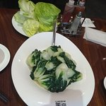 The Baby Bok Choy w/ Garlic (front) and the lettuce (back), part of the Peking Duck Dinner Set