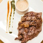 Ribeye steak 200g with creamy mushroom sauce