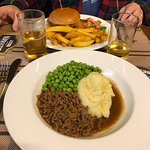 Mince and tatties, and hubby's chicken sandwich