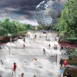 """Cool off in the fountains at the iconic """"Unisphere""""in Flushing Meadows Park"""