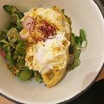 Eggs benedict on turmeric waffle