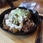 Flash Fried Cauliflower - Burrata, sunflower seeds, radish sprouts, balsamic glaze