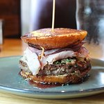 Montecristo - Angus patty, black forest ham, alpine cheese, caramelized mushroom, dijon mustard, strawberry basil jam, red onions, french toast