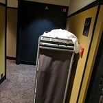 coming out of the elevator , permanent dirty linens