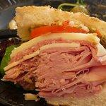 Huge shared ham sandwich