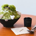 Green Tea Sulbing with Red Bean Mochi, perfect for a matcha craving