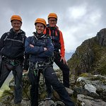 Three happy scramblers on Crowberry Tower, Buachaille Etive Mor.