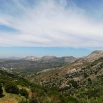 View down to the Aegean Sea, beyond the mountains.