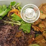 Spicy chicken and purple rice